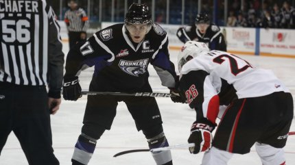 Lowry against Moose Jaw (photo from scbroncos.com)