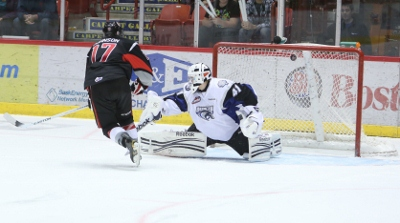 Andrew Johnson against the Broncos last season (photo from Discover Moose Jaw)