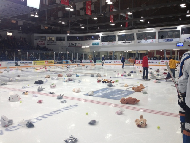 The scene after the Kurt's KFC Teddy Bear Toss (photo from scbroncos.com)