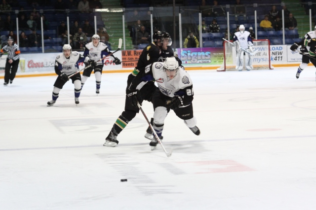 Tanner LeSann chases down a puck (Photo by Darwin Knelsen)