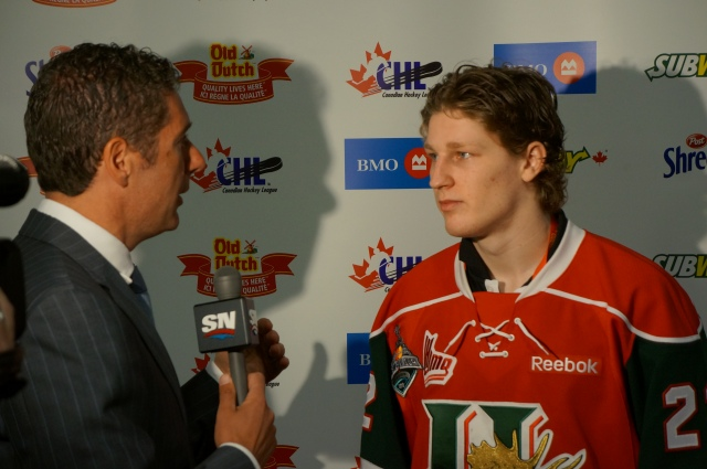 Gene Principe interviewing Nathan MacKinnon