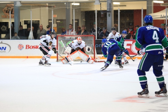 Colby Cave's winning goal (photo by Darwin Knelsen for scbroncos.com)