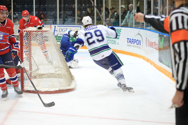 Leth upended after his second goal (Photo by Darwin Knelsen)