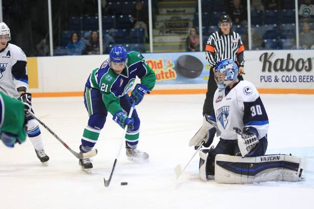 Hamm stops Spencer (photo by Darwin Knelsen for scbroncos.com)