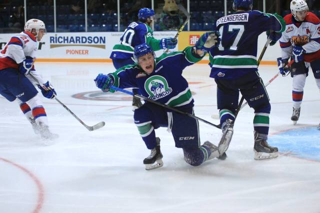 Kade Jensen after his goal (photo by Darwin Knelsen for scbroncos.com)